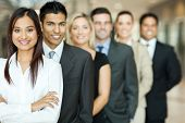 image of multicultural  - group of business team standing in a row - JPG