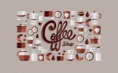 stock photo of kettling  - Colorful coffee shop icon over beige background set - JPG