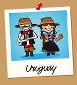 image of gaucho  - Uruguayan man and woman cartoon couple in vintage instant photo frame - JPG