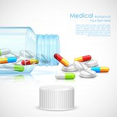 foto of antibiotics  - illustration of medicine capsule in transparent bottle - JPG