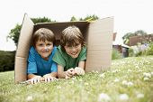 stock photo of mischief  - Portrait of two happy boys lying in cardboard box in the backyard - JPG