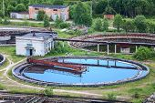 image of wastewater  - Wastewater filtering in water treatment plant summer - JPG