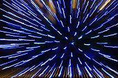 image of splayed  - Light pattern of blue light strips produced by movement - JPG