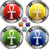 image of ankh  - Ankh religious icon on shiny round vector button with colorful background - JPG