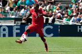 PASADENA, CA - JULY 7: Tosaint Ricketts #9 of Canada in action during the 2013 CONCACAF Gold Cup gam