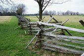stock photo of split rail fence  - Split Rail Fence at New Market Battlefield in the Shenandoah Valley of Virginia - JPG