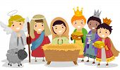 stock photo of three kings  - Illustration of Stickman Kids Playing Nativity Scene in School Play - JPG