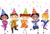 picture of stickman  - Illustration of Stickman Kids having a School Party - JPG