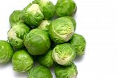 stock photo of brussels sprouts  - Brussel sprouts on white background.