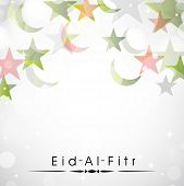 Muslim community festival Eid Al Fitr (Eid Mubarak) background with moon and stars on shiny grey bac