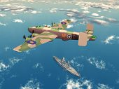 picture of battleship  - Computer generated 3D illustration with the British Heavy Bomber Halifax and an American Battleship from the second world war - JPG