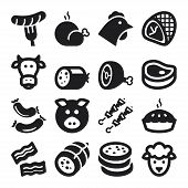 foto of turkey-hen  - Set of black flat icons about meat - JPG