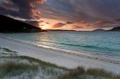 Outer Hebrides, Colorful Sunrise Over A Sandy Beach