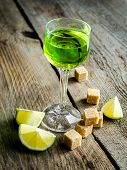 pic of absinthe  - Glass of absinthe with lime and sugar cubes - JPG