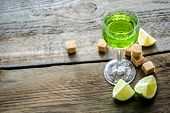 picture of absinthe  - Glass of absinthe with lime and sugar cubes - JPG