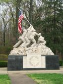 picture of iwo  - Statue at the entrance of Quantico Marine Base in Virginia of Marines raising the American flag over Iwo Jima in WWII - JPG