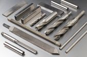 stock photo of countersink  - Arranged steel tools on metal background close up - JPG