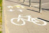 pic of bike path  - Bike path with a symbol of bike - JPG