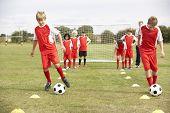 stock photo of little-league  - Junior football team training with coach - JPG