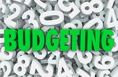picture of budget  - Budgeting word green letters background of numbers creating budget plan for finances - JPG