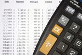 picture of amortization  - This is a close up image of a calculator and amortization table - JPG