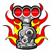 picture of dragster  - Vector illustration of a supercharger in a cartoon style - JPG