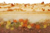 Closeup Shepards Pie In Glass Dish