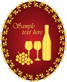picture of wine-glass  - Vector gold wine label with space for your text - JPG
