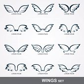 stock photo of spread wings  - Collection of stylized wings   - JPG
