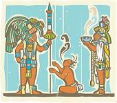 stock photo of priest  - Traditional Mayan Mural image of a Mayan Warrior sacrifice and priest - JPG