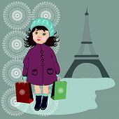 pic of beret  - Girl With Shopping Bags in blue berets - JPG