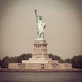 picture of statue liberty  - The Statue of Liberty on Ellis Island with retro effect - JPG
