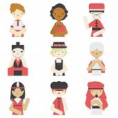 stock photo of traditional attire  - Flat icons collection of different national boys wearing traditional clothes - JPG