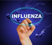 picture of influenza  - writing word INFLUENZA with marker on gradient background made in 2d software - JPG