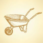 stock photo of hand-barrow  - Sketch barrow vector vintage background eps 10 - JPG