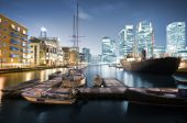 stock photo of hsbc  - Skyline of Canary Wharf view from West India Millwall Docks. 