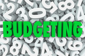image of budget  - Budgeting word green letters background of numbers creating budget plan for finances - JPG