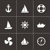 foto of viking ship  - Vector ship and boat icon set on black background - JPG