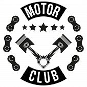 picture of biker  - Vintage Motor Club Signs and Label with chain and pistons - JPG