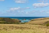 image of mear  - View to Porth Mear near Porthcothan North Cornwall England UK - JPG