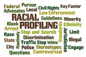 pic of racial discrimination  - Racial Profiling word cloud on white background - JPG