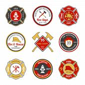 stock photo of fire brigade  - Fire department rescue and protection volunteers and professional firefighter emblems set isolated vector illustration - JPG