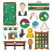 stock photo of snooker  - Billiards snooker pool game decorative icons flat set isolated vector illustration - JPG