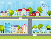 picture of school building  - Flat town buildings with private houses school police office vector illustration - JPG