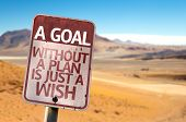 picture of philosophy  - A Goal Without a Plan Is Just A Wish sign with a desert background - JPG