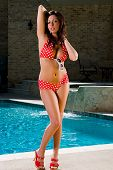 stock photo of poka dot  - A brunette model in a red poka dot bikini by a swimming pool - JPG