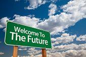 Постер, плакат: Добро пожаловать в будущем зеленый дорожный знак