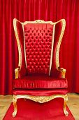 image of throne  - Red royal throne and red curtain behind - JPG