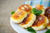 foto of icing  - fried cheese fritters on a plate with icing sugar - JPG