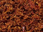 stock photo of bacon  - close up of bacon bits texture background - JPG
